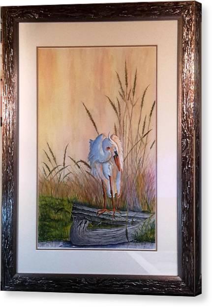 Blue Heron On A Log  Canvas Print