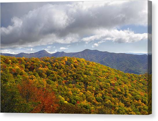 Blue Ridge Mountains In Autumn Color Canvas Print by Darrell Young