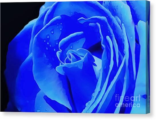 Rose Digital Art Canvas Print - Blue Romance by Krissy Katsimbras
