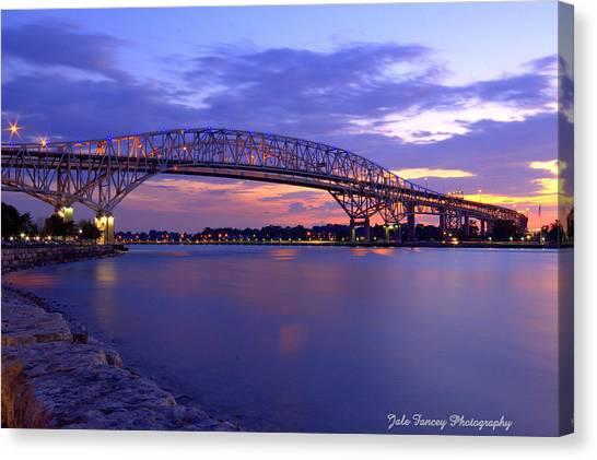 Bluewater Bridge At Sunset Canvas Print