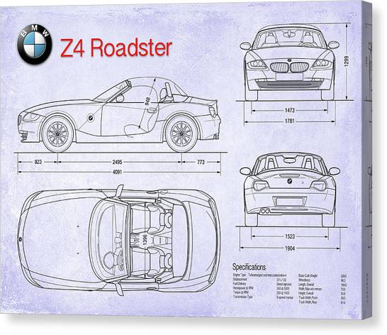 Car blueprint canvas prints page 2 of 25 pixels car blueprint canvas print bmw z4 blueprint by jon neidert malvernweather Gallery