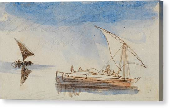 The Nile Canvas Print - Boats On The Nile by Edward Lear
