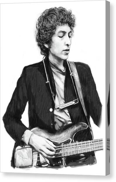 Bob Dylan Canvas Print - Bob Dylan Drawing Art Poster by Kim Wang