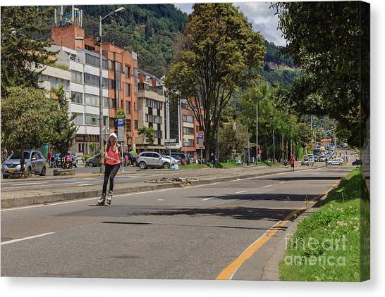 Rollerblading Canvas Print - Bogota, Colombia - The Weekly, Sunday Morning Ciclovia by Devasahayam Chandra Dhas