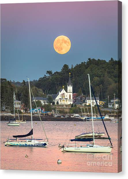 Boothbay Harbor Supermoon Canvas Print