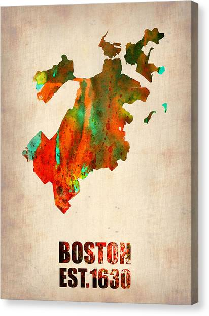 Boston Canvas Print - Boston Watercolor Map  by Naxart Studio