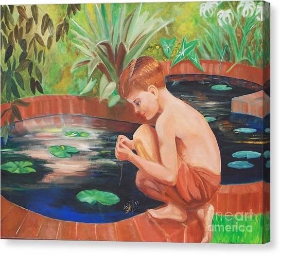 Boy Fishing Canvas Print