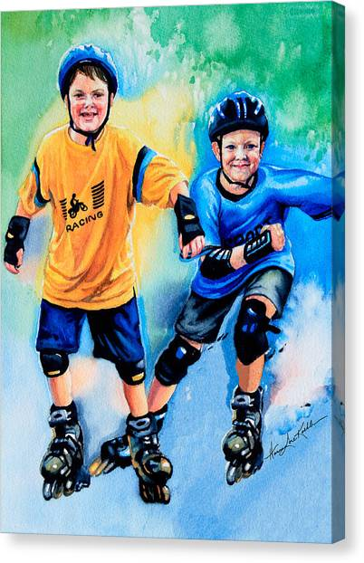 Roller Skating Canvas Print - Breaking Away by Hanne Lore Koehler