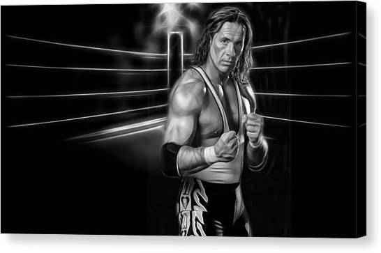 Bret Hart Canvas Print - Bret Hart The Hitman Wrestling Collection by Marvin Blaine