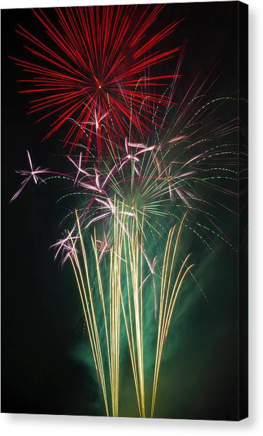 Pyrotechnic Canvas Print - Bright Colorful Fireworks by Garry Gay