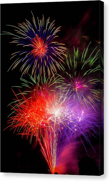 Pyrotechnic Canvas Print - Bright Fireworks by Garry Gay