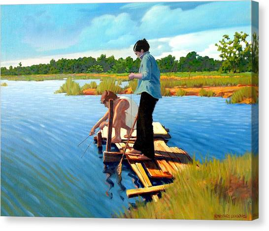 Crabbing Canvas Print - Bring The Bucket by Kevin Lawrence Leveque