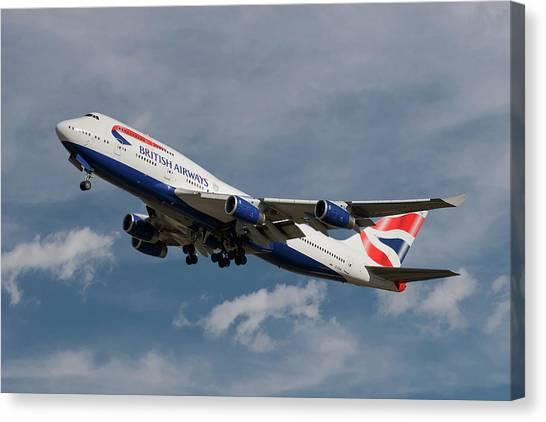 Airlines Canvas Print - British Airways Boeing 747-436 by Smart Aviation