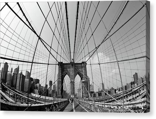Brooklyn Nets Canvas Print - Brooklyn Bridge by Peter Verdnik