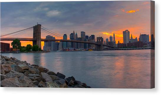 Skylines Canvas Print - Brooklyn Sunset by David Hahn