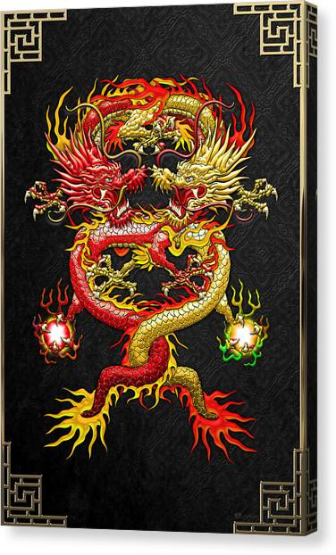 Dragons Canvas Print - Brotherhood Of The Snake - The Red And The Yellow Dragons by Serge Averbukh