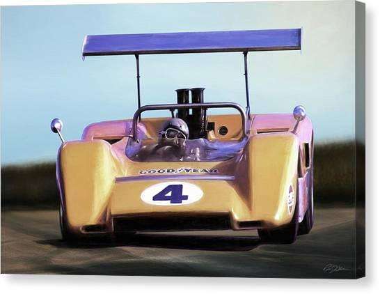Racecar Drivers Canvas Print - Bruce Mclaren M8b by Peter Chilelli