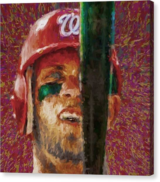 Baseball Canvas Print - #bryceharper #washington #washingtondc by David Haskett II