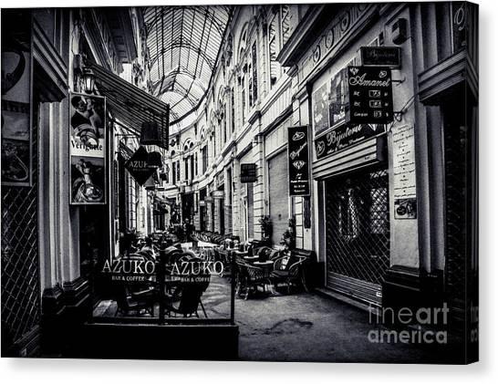 Monochrome Bucharest  Macca - Vilacrosse Passage Canvas Print