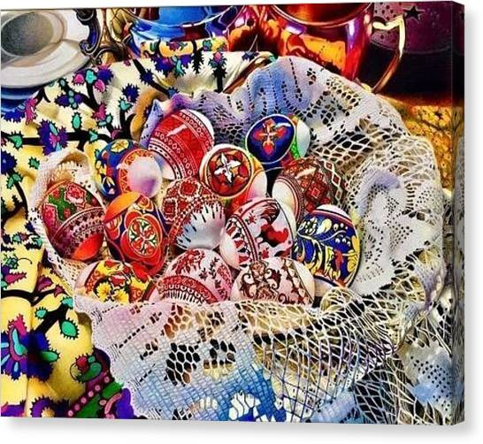 Easter Baskets Canvas Print - Bucura-te. Domnul A Inviat by David Hoque