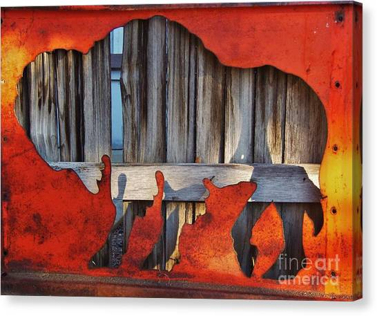 University Of Colorado Canvas Print - Wooden Buffalo 1 by Larry Campbell