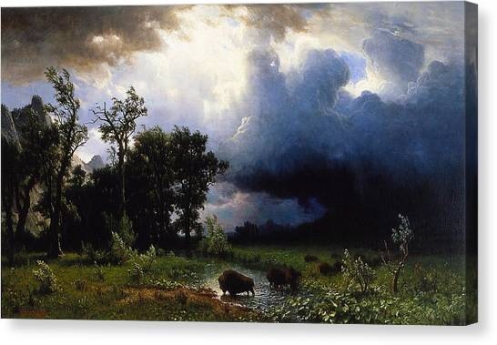 Rainclouds Canvas Print - Buffalo Trail  The Impending Storm by Albert Bierstadt