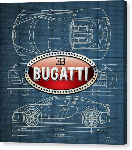Automobiles Canvas Print - Bugatti 3 D Badge Over Bugatti Veyron Grand Sport Blueprint  by Serge Averbukh