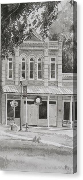 Building On The Square Canvas Print by Karen Boudreaux
