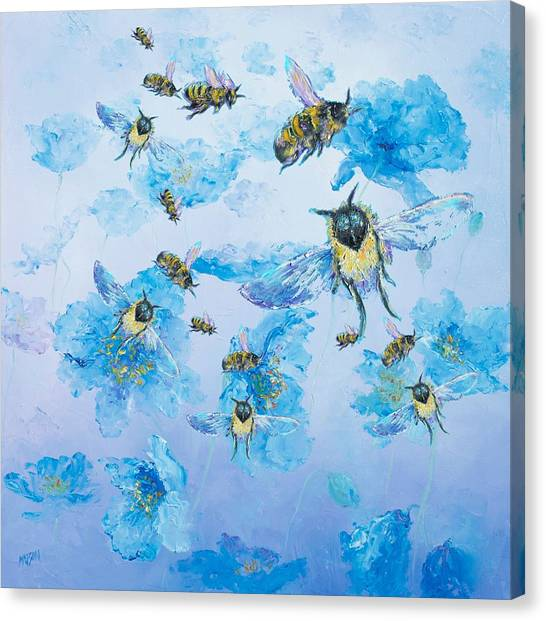 Country Kitchen Decor Canvas Print - Bumble Bees by Jan Matson