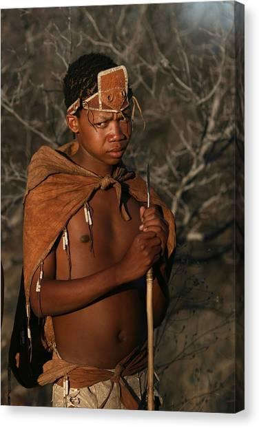 Bushmen Hunter Canvas Print by Miranda  Miranda