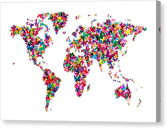 Insects Canvas Print - Butterflies Map Of The World by Michael Tompsett