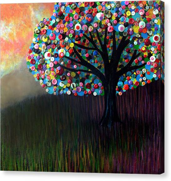 Button Tree 0004 Canvas Print by Monica Furlow