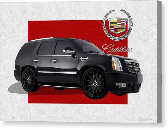 Automobiles Canvas Print - Cadillac Escalade With 3 D Badge  by Serge Averbukh