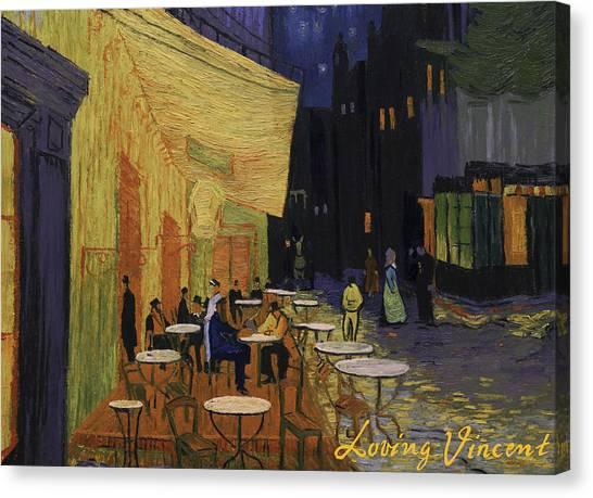 Vincent Van Gogh Canvas Print - Cafe Terrace At Night by Marlena Jopyk-Misiak