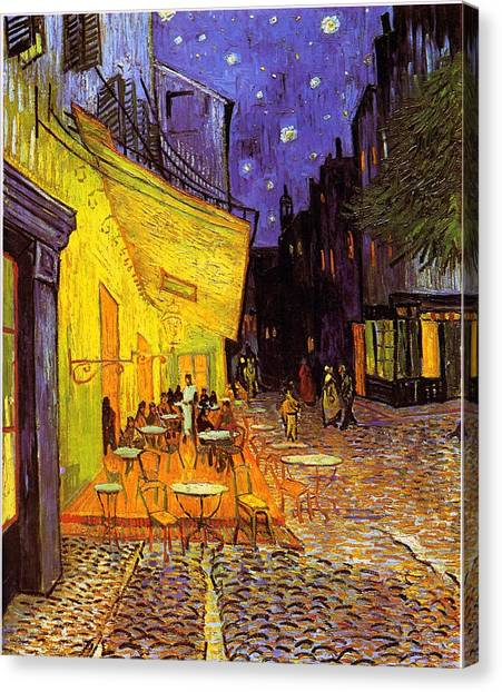Canvas Print featuring the painting Cafe Terrace At Night by Van Gogh