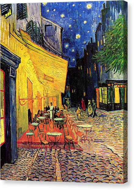 Cafe Terrace Place Du Forum At Night Canvas Print