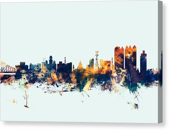 Bengals Canvas Print - Calcutta Kolkata India Skyline by Michael Tompsett