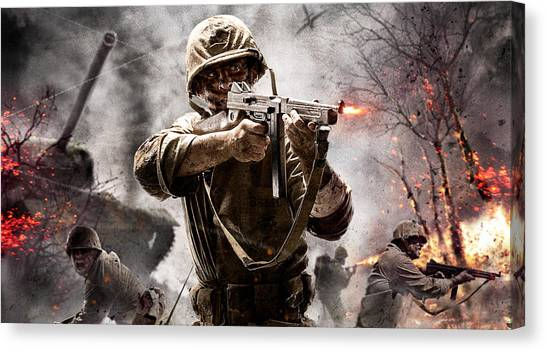 Call Of Duty Canvas Print - Call Of Duty by Barbara Elvins