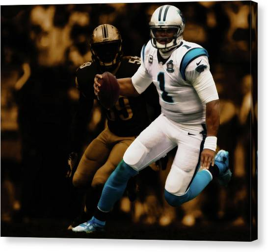 Drew Brees Canvas Print - Cam Newton Out The Pocket by Brian Reaves