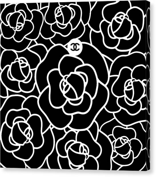 Black And White Canvas Print - Camellia Cc by Tres Chic