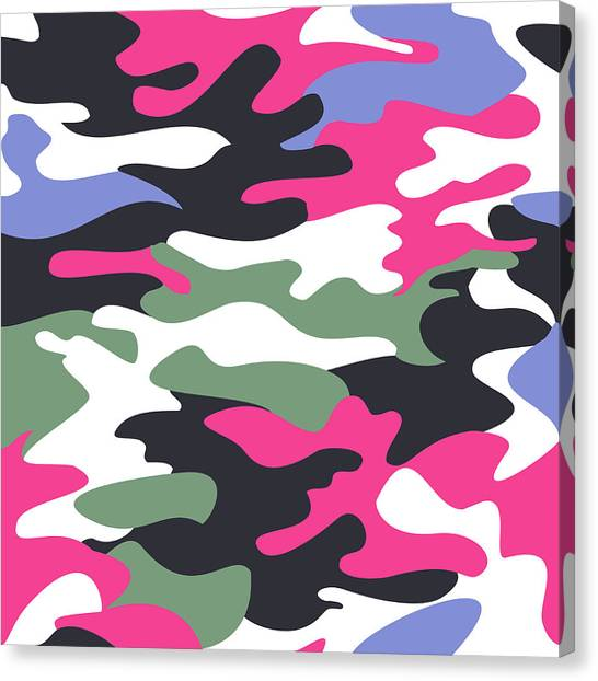 Pink Camo Canvas Print - Camouflage Pattern Background Seamless Clothing Print, Repeatabl by Svetlana Corghencea