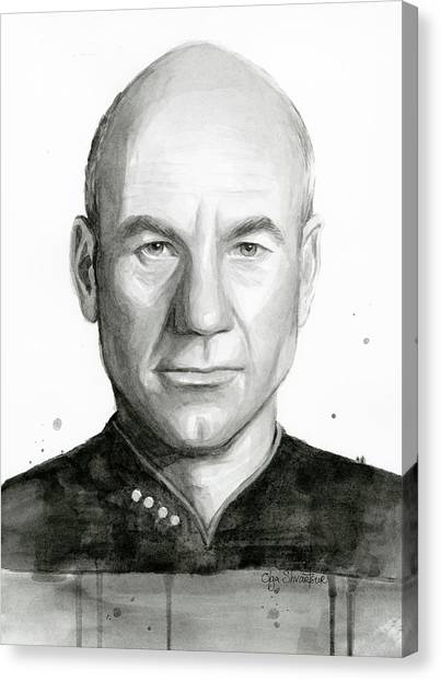 Star Trek Canvas Print - Captain Picard by Olga Shvartsur
