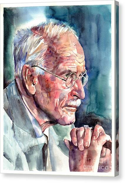 Philosophy Canvas Print - Carl Gustav Jung Portrait by Suzann's Art