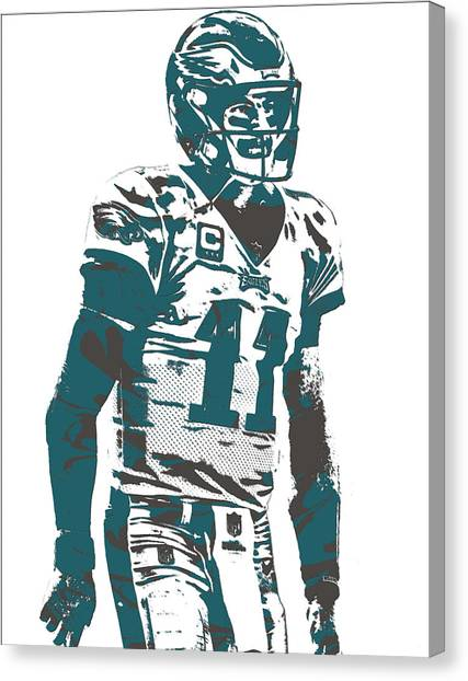 Philadelphia Eagles Canvas Print - Carson Wentz Philadelphia Eagles Pixel Art 6 by Joe Hamilton