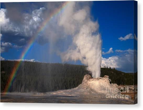 Yellowstone Caldera Canvas Print - Castle Geyser Eruption Rainbow by Adam Jewell