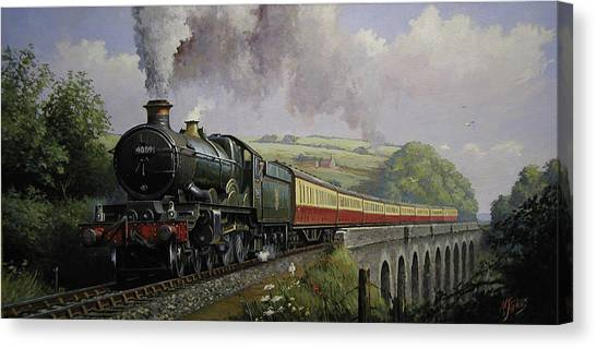 Steam Trains Canvas Print - Castle On Broadsands Viaduct by Mike Jeffries