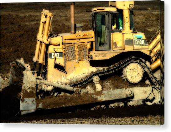 Backhoes Canvas Print - Cat Bulldozer . 7d10945 by Wingsdomain Art and Photography