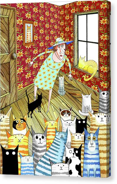 Indoors Canvas Print - Cat Lady  by Andrew Hitchen