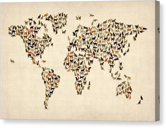 World Map Canvas Print - Cats Map Of The World Map by Michael Tompsett