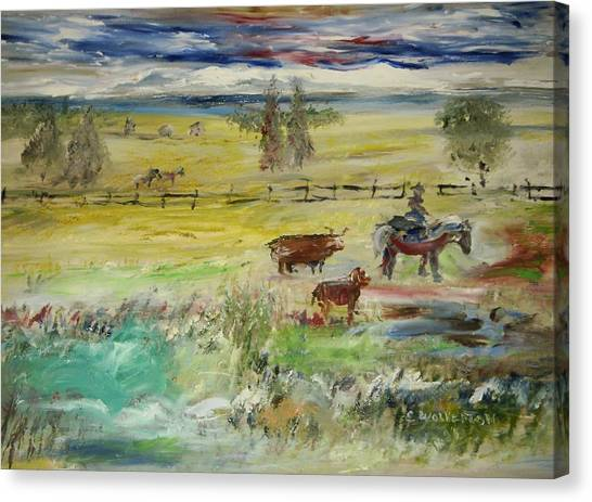 Cattle Drive Canvas Print by Edward Wolverton